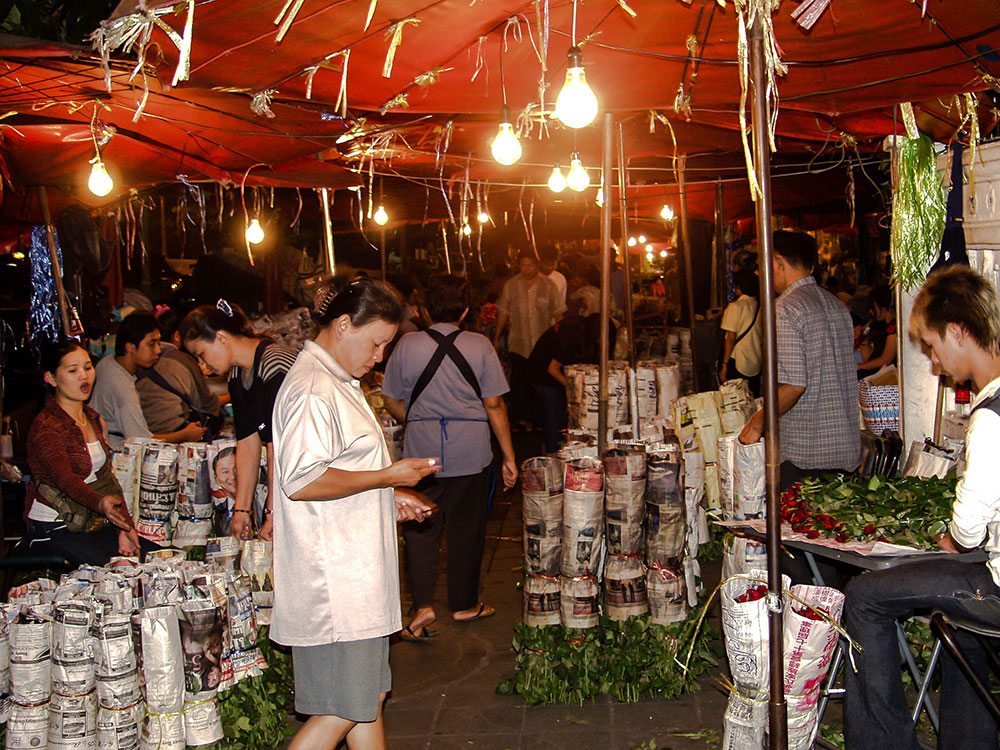 Bangkok flower market or Pak Khlong Talat.